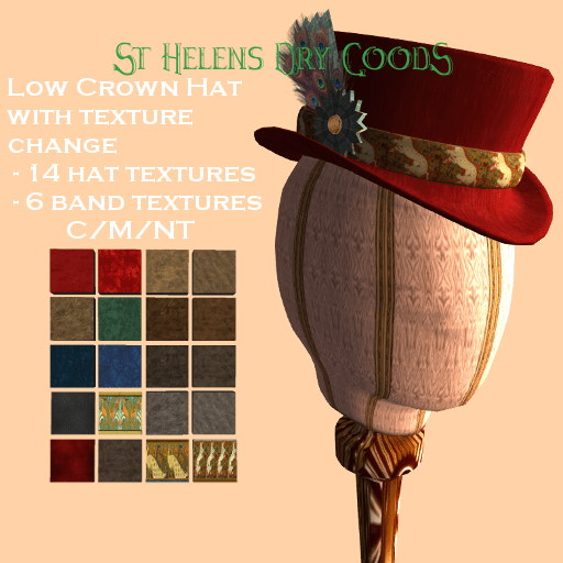 14 hat and 6 hatband textures, dozens of combinations