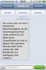 Drosselungs SMS