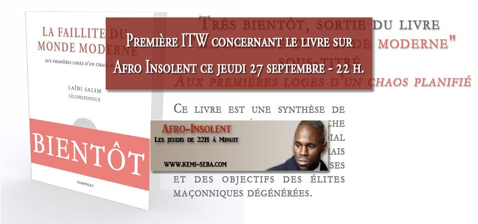 ITW sur Afro Insolent ce jeudi 27 septembre – 22h
