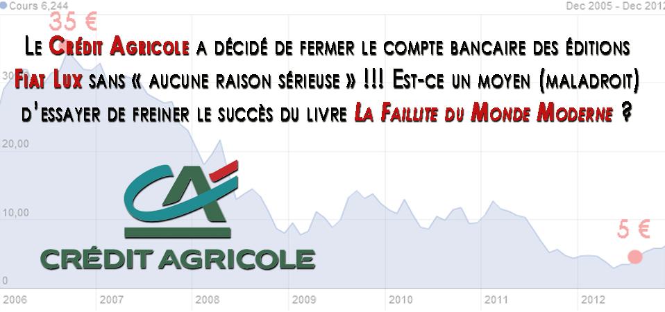 Le Crédit Agricoule, au bord de la faillite, nous censure !