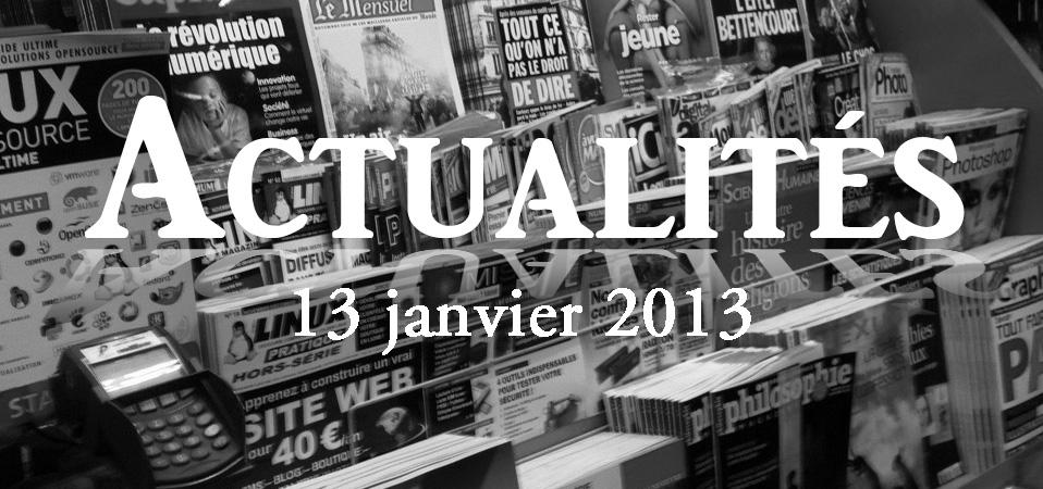 Actus du 13 janvier 2013 – Conférences à venir