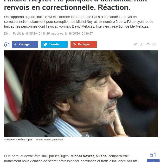 Affaire Neyret : le parquet a demandé huit renvois en correctionnelle