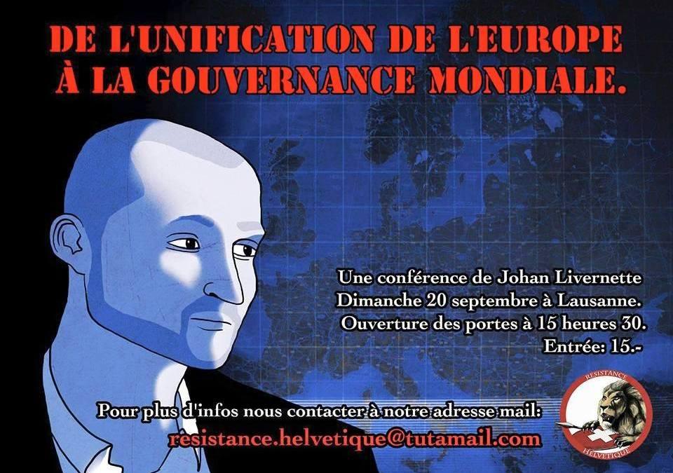 Conférence de Johan Livernette à Lausanne le dimanche 20 septembre