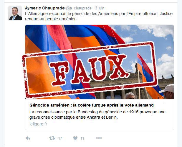 Génocide arménien : l'ignare et franc-maçon A. Chauprade se ridiculise encore !