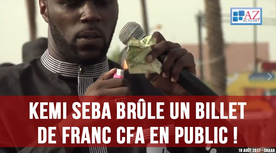 Kemi Seba a brûlé hier à Dakar un billet de Franc CFA !
