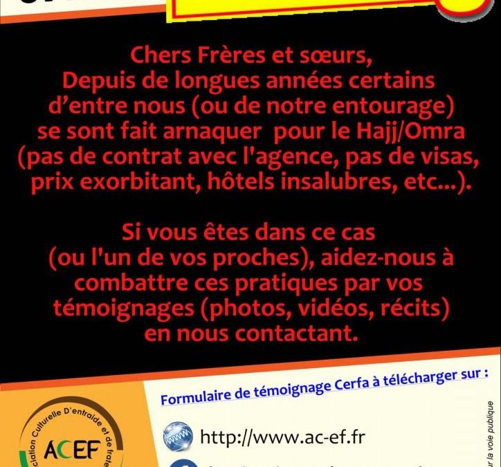 ACEF : stop aux arnaques du Hajj et de la Omra !
