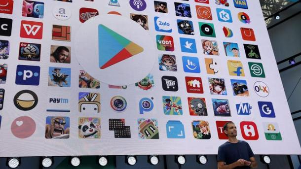 Sameer Samat, vice president of product management, Android and Google Play, speaks on stage during the annual Google I/O developers conference in San Jose, California, U.S., May 17, 2017. REUTERS/Stephen Lam - RC1105A66E60