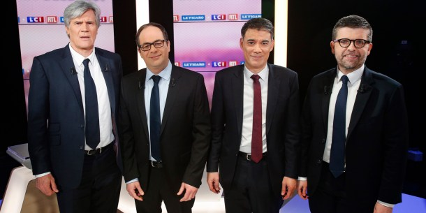 (L-R) Candidates for the leadership of the French Socialist Party (PS) French Member of Parliament Stephane Le Foll, French European Member of Parliament Emmanuel Maurel, French Member of Parliament Olivier Faure and French Socialist Party (PS) French Member of Parliament Luc Carvounas pose prior to taking part in a live televised debate broadcasted on French TV channel LCI and radio station RTL on March 7, 2018, in a TV studio in Boulogne-Billancourt, outside Paris, ahead of an election for the PS First Secretary. French Socialist Party members and supporters will vote to elect a new leader on March 15 and 29, 2018. / AFP PHOTO / GEOFFROY VAN DER HASSELT