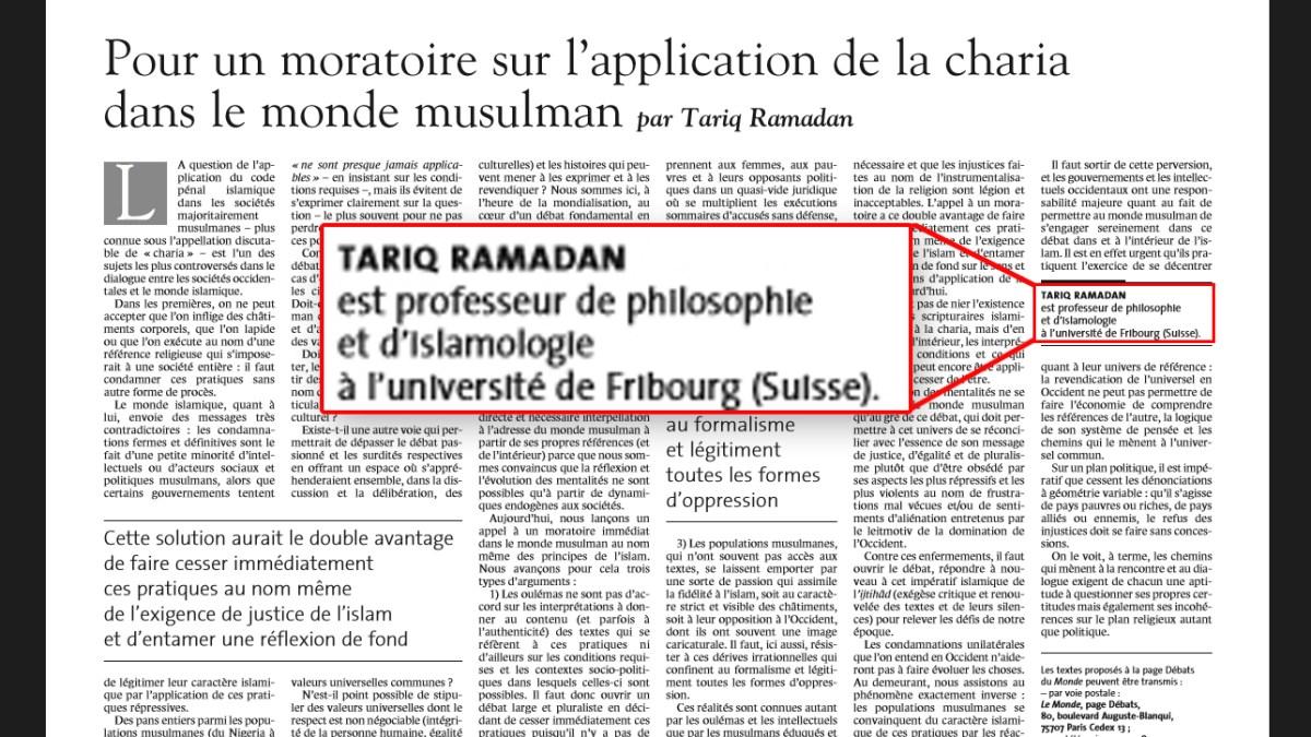 Tariq Ramadan aurait usurpé son titre de professeur universitaire !