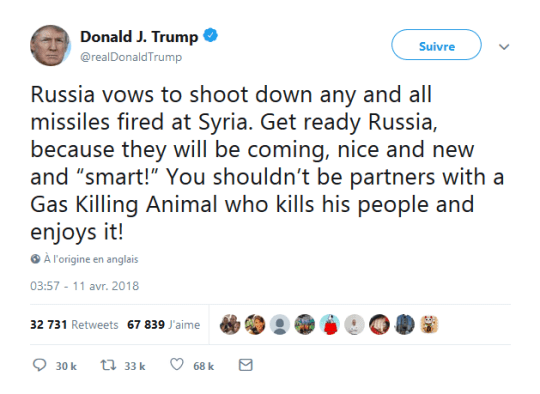 trump-tweet-contre-russie-syrie-assasd-animal