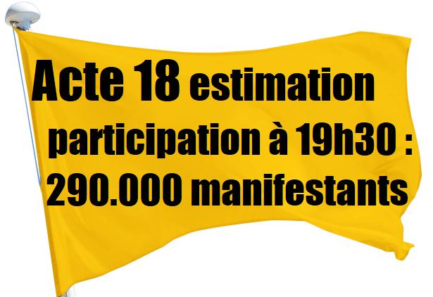 Acte 18 des #GiletsJaunes : 290.000 manifestants à travers toute la France !