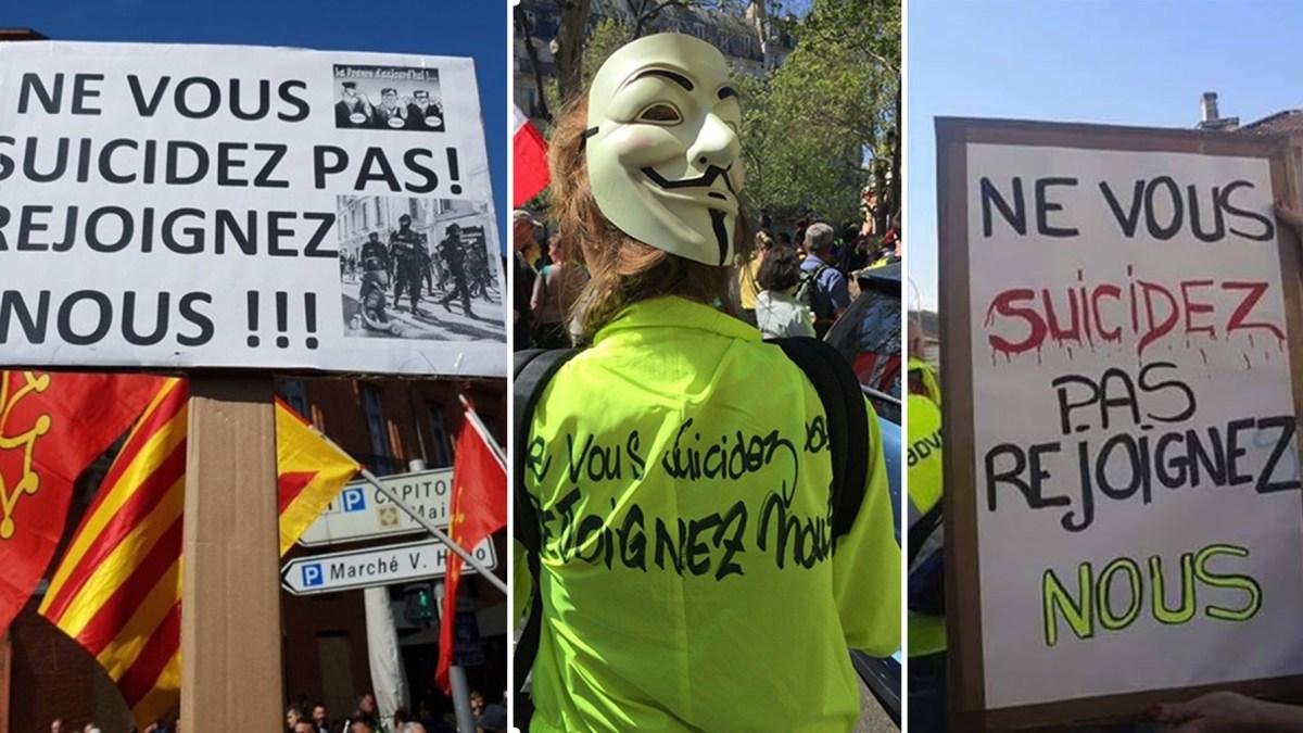 « Ne vous suicidez pas ! Rejoignez-nous ! » : les slogans oubliés par la médiacratie !