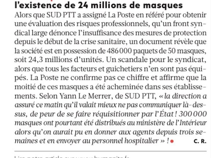 La Poste cache 24 millions de masques, sans honte !