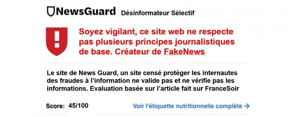 NewsGuard un site qui pratique la désinformation sélective et ciblée à des fins commerciales ?