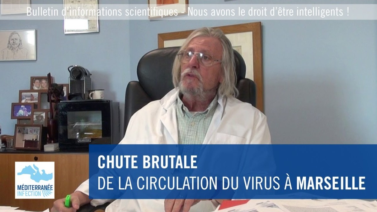 Chute brutale de la circulation du virus à Marseille, par le Pr Raoult