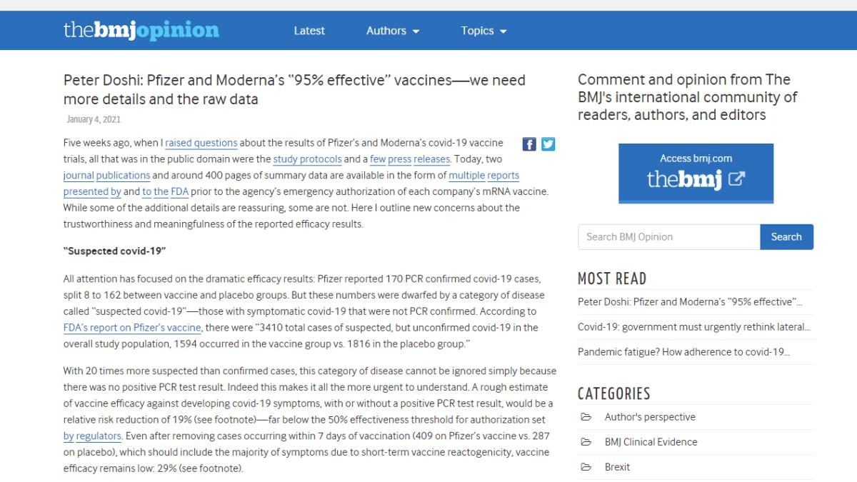Bombe médiatique : l'efficacité des vaccins Moderna et Pfizer remise en cause par une analyse scientifique du British Medical Journal