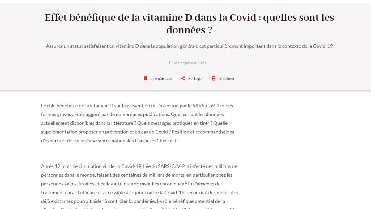 Preuves des effets bénéfiques de la vitamine D contre le covid-19 contrairement à la propagande de BFM !