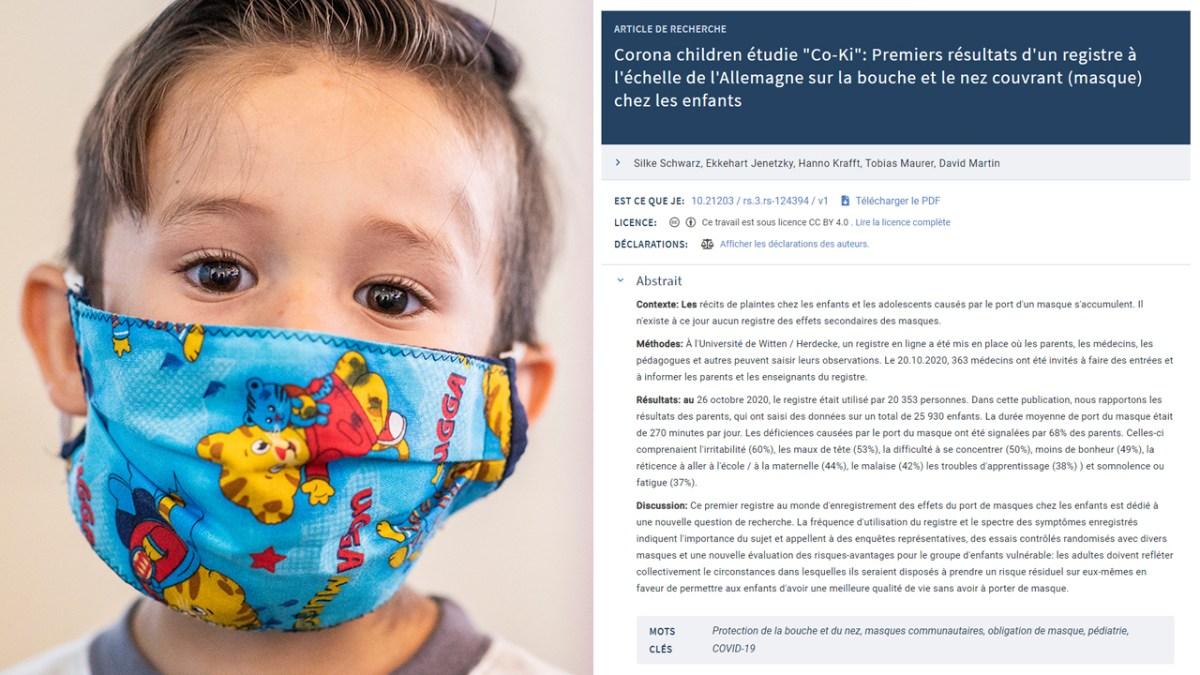 Première grande étude allemande importante sur les dégâts occasionnés par le port du masque chez les enfants