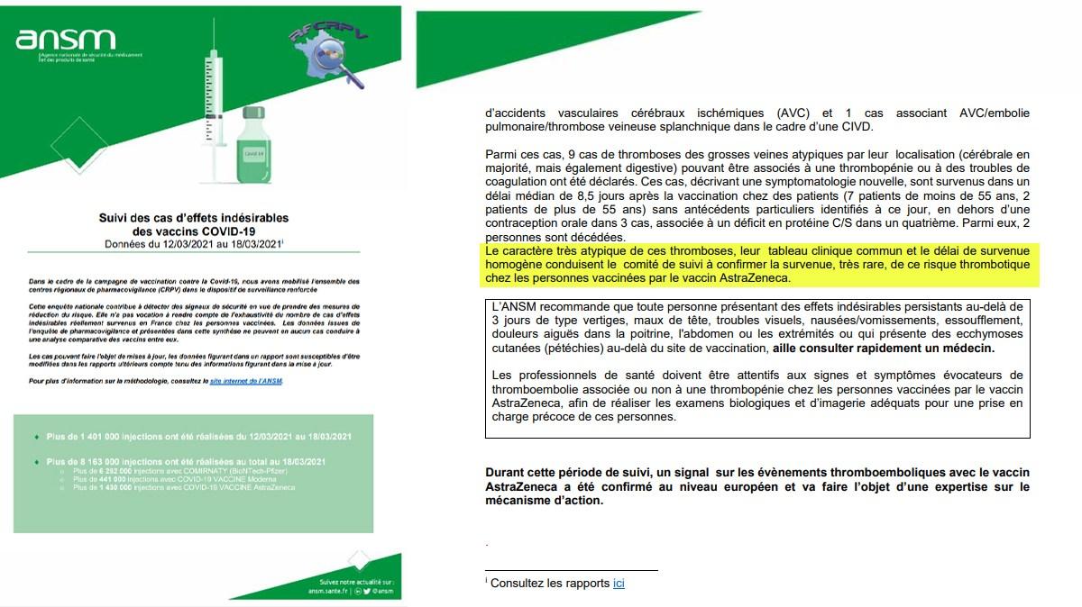 L'ANSM confirme le risque thromboembolique du vaccin AstraZeneca dans son dernier rapport !