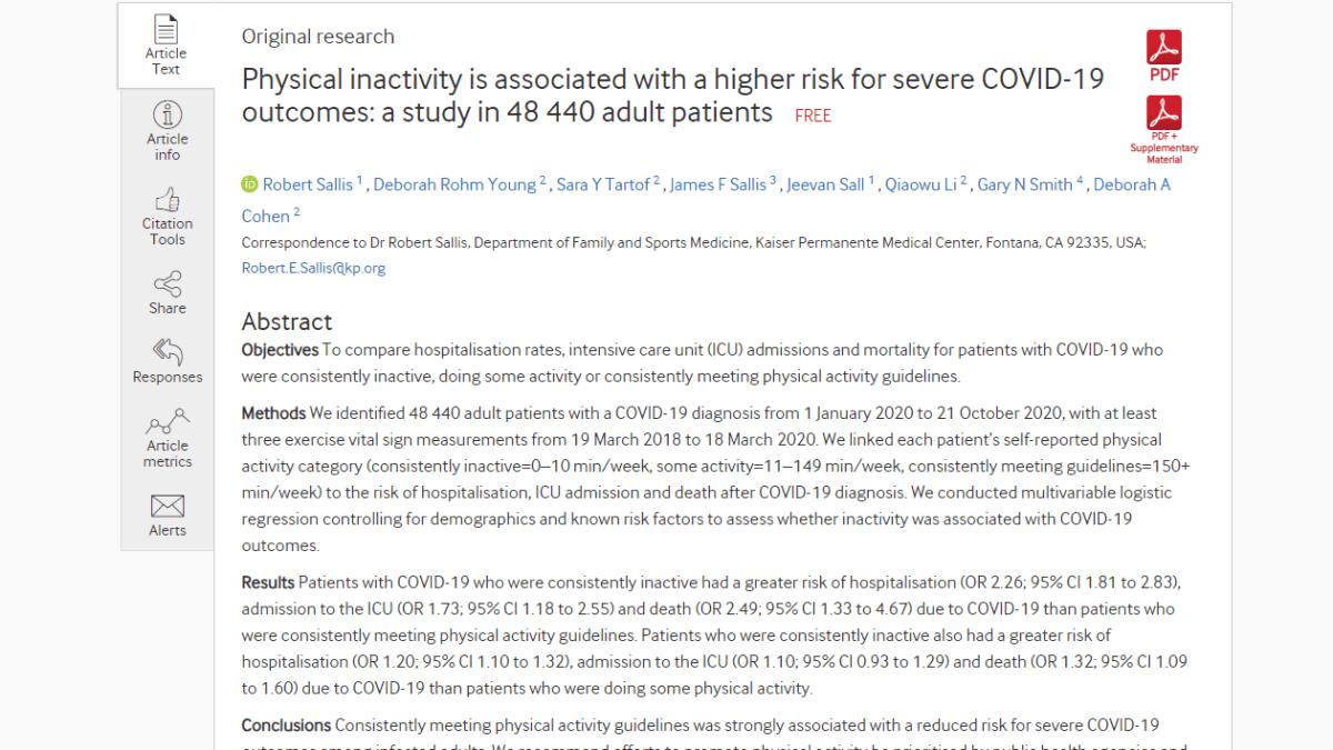 L'inactivité physique est associée à un risque plus élevé de cas graves de covid-19 !