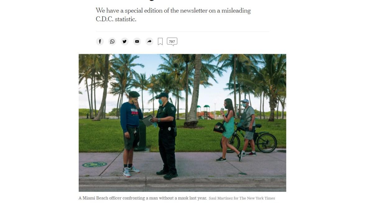 «Il n'y a pas une seule infection à Covid documentée dans le monde en raison d'interactions occasionnelles à l'extérieur» selon le NYT !