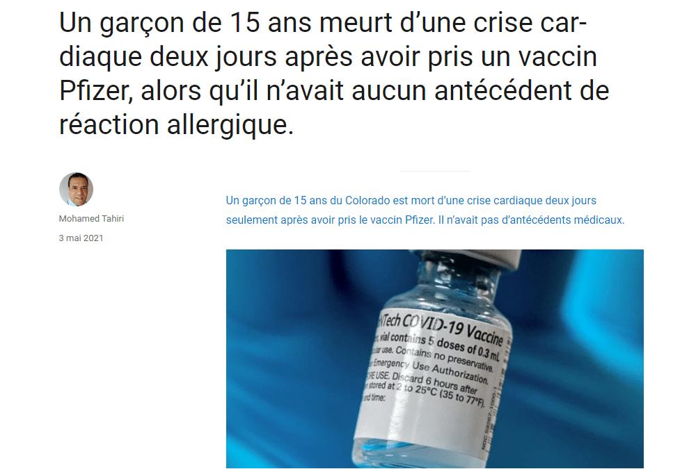 Un garçon de 15 ans meurt d'une crise cardiaque aux USA 2 jours après avoir pris un vaccin Pfizer !