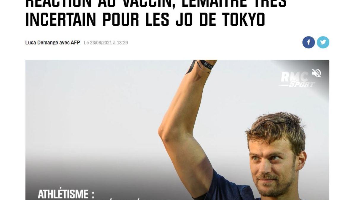 À cause d'une mauvaise réaction au vaccin covid, Christophe Lemaître est forfait pour les JO de Tokyo !