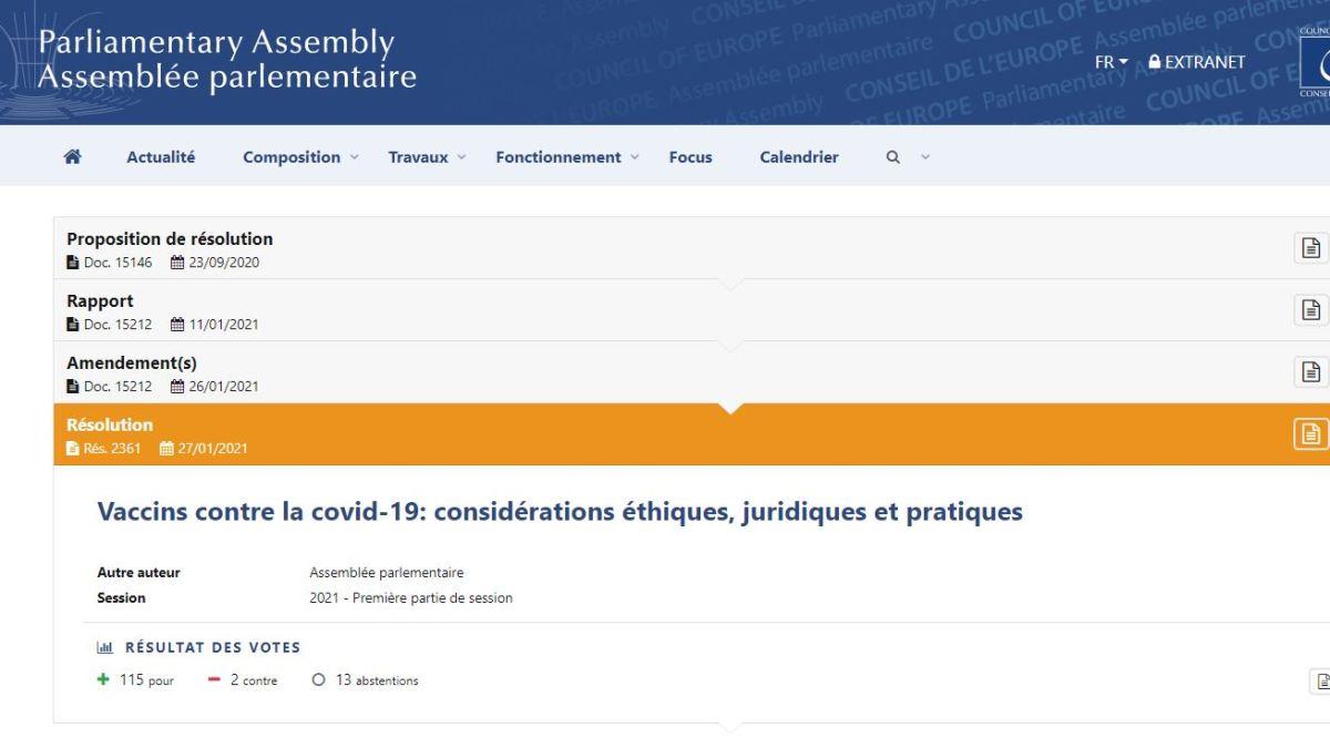 Le Conseil de l'Europe a voté la résolution 2361 contre l'obligation vaccinale en janvier 2021 !