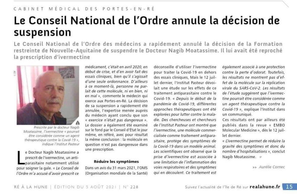 L'Ordre des médecins annule la décision de suspension du Dr Nagib Moatassime pour avoir prescrit de l'Ivermectine !