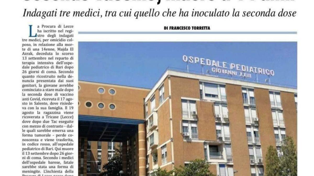 Décès post-vaccinal d'un ado de 14 ans en Italie : le procureur inculpe trois médecins !