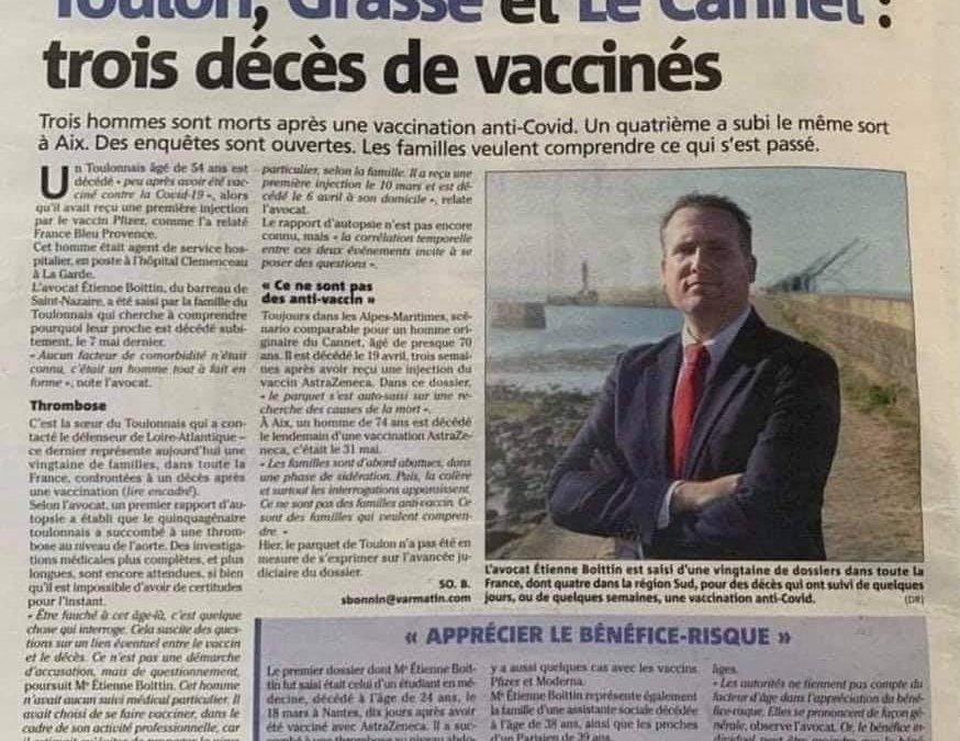 3 nouveaux décès possiblement liés à la vaccination covid !