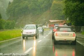 Kö vid olycka i Schweiz