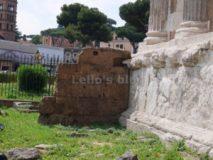 Tempio di Portuno: muro a blocchi sul lato posteriore sinistro