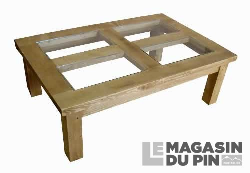 table basse plateau verre chamonix