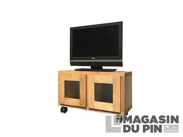 meuble tv cube 2 portes vitrees roulettes