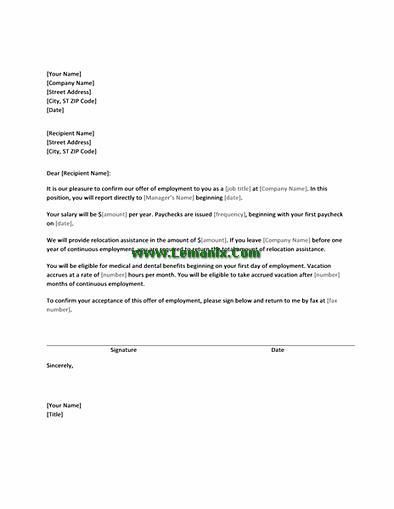 relocation offer letter | Creativeletter.co