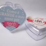 Mini bomboniere transparente personalizada para Lembrança