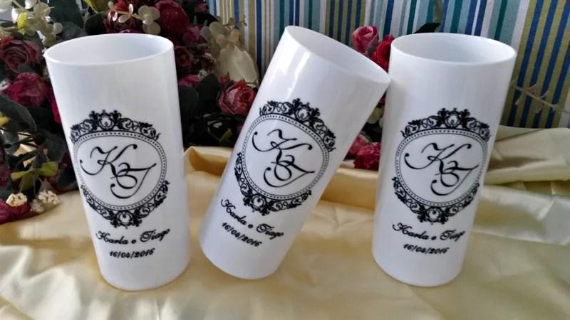Copos long drink personalizados Karla e Tiago