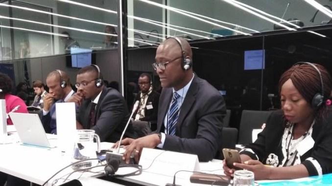 Eric Aimé Semien, président de l'OIDH (au micro) lors de la session 2019 du dialogue société civile-CPI à la Haye.(DR)'