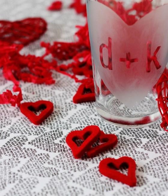 Verres dépolis pour la Saint Valentin
