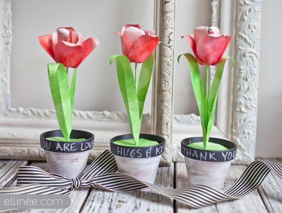 DIY 3 pots de tulipes en papier à imprimer