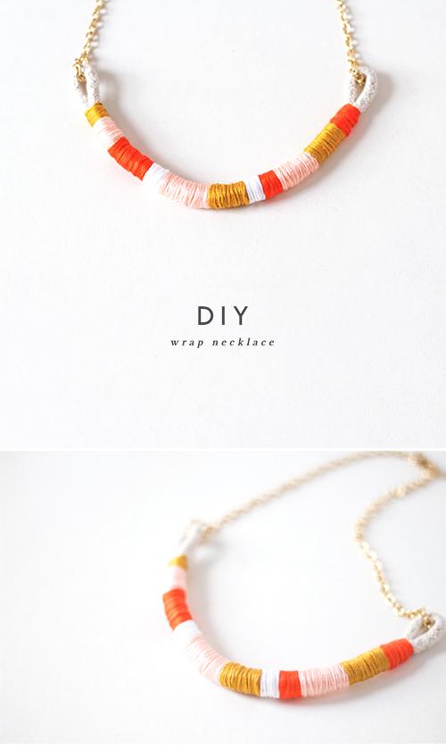 DIY Collier en corde coloré en fil à broder