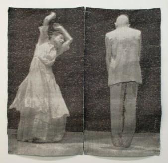 Tissage Jacquard, tencel, acier inoxydable, cuivre, lin, laine, (panneau de gauche: collection privée) panneau de droite : 3 000 $