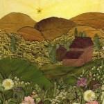 lukisan pemandangan daun kering