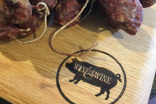 Wine & Swine board branding
