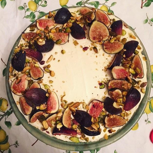Fig, Honey and Pistachio Cake with Mascarpone Buttercream