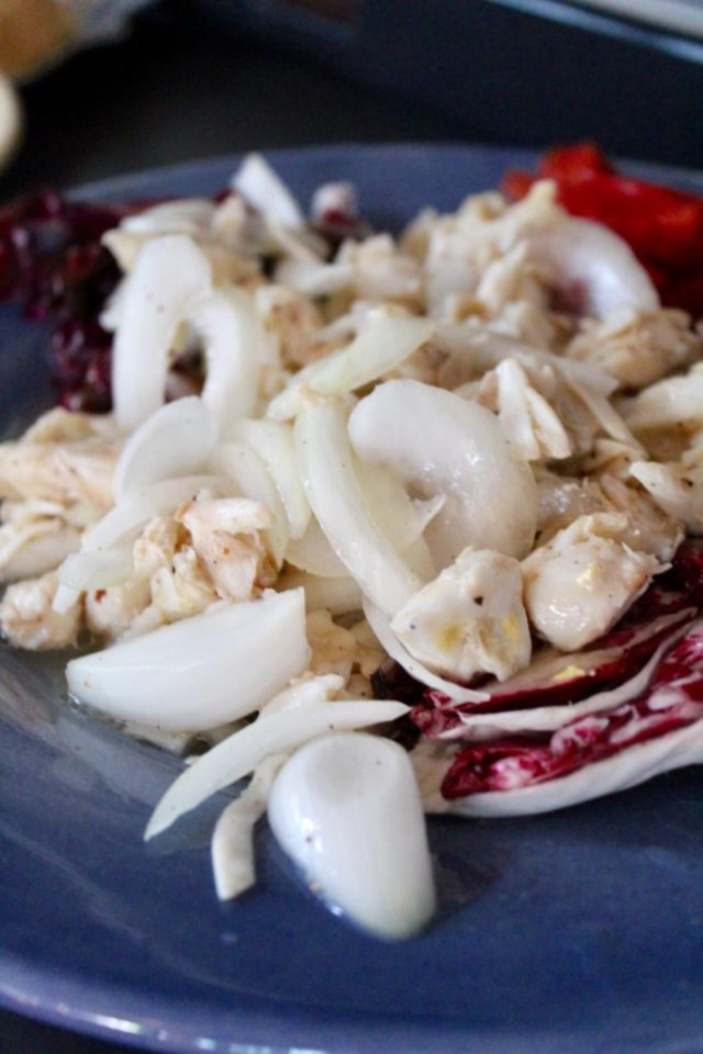 Closeup of a marinated crabmeat salad