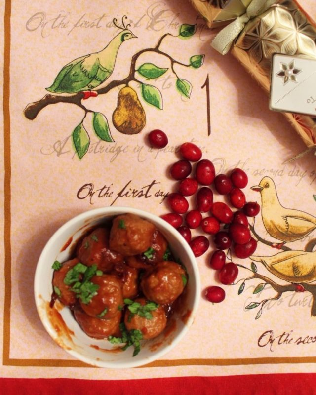 Christmas tablecloth with bowl of meatballs