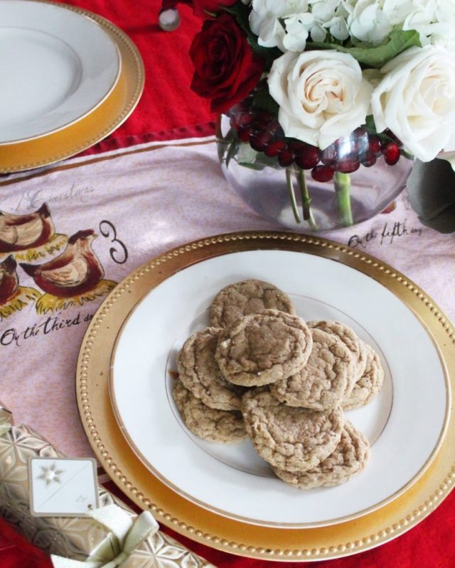 Gold-rimmed plate of soft ginger cookies
