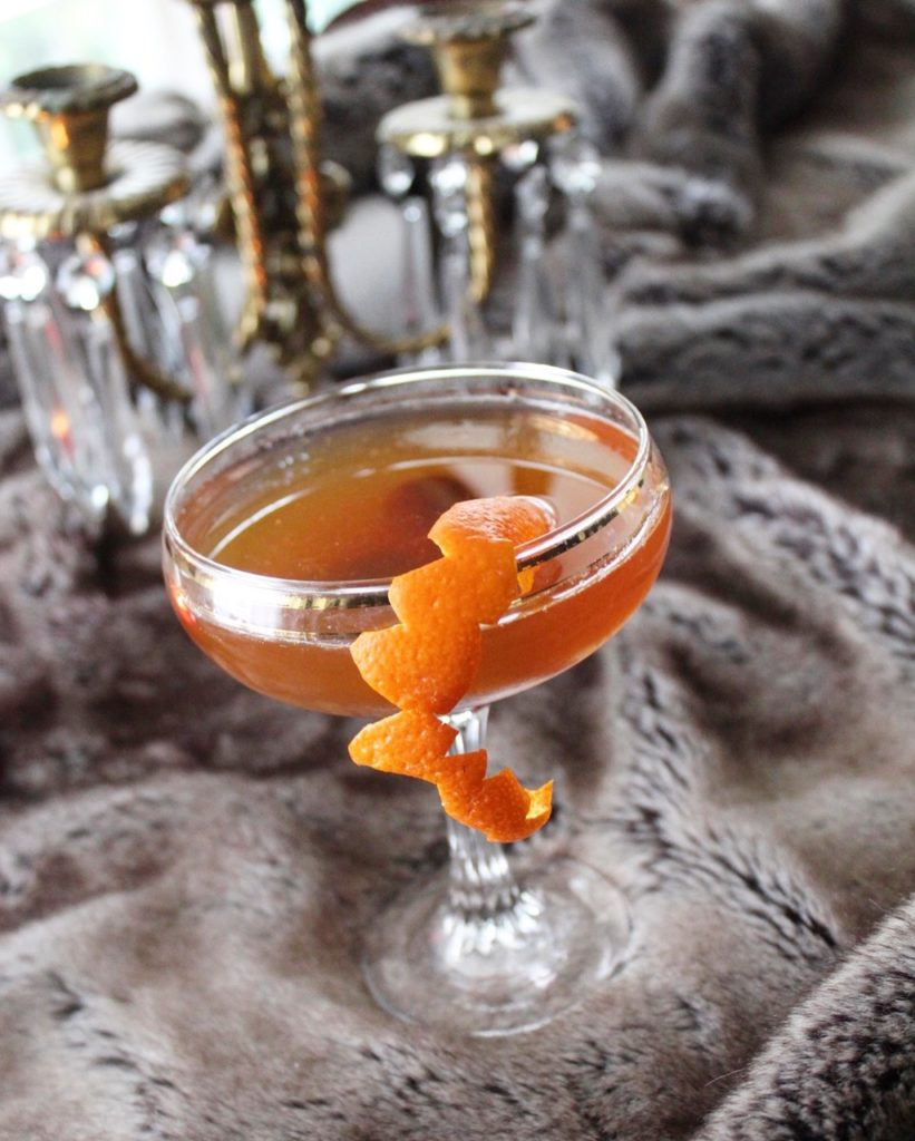 cocktail with fur blanket